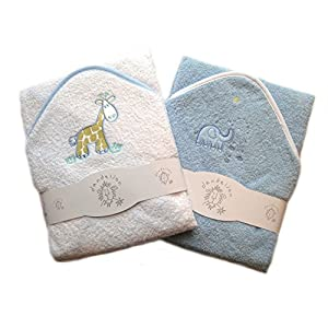 A Set of Two Beautiful Baby Bath Towels - 100% Cotton In Pink or Blue with Cute Animal Appliques, Infant, Blue