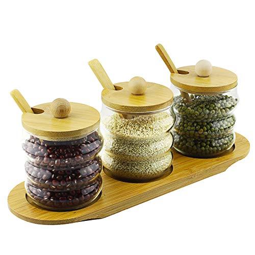 Barattolo di vetro trasparente stagionatura condimenti utensili da cucina con cucchiaio di legno di bambù, set di 3(set di 3) curve