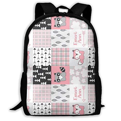 Raccoon-wholecloth-pink-Customized_2434 Klassischer Rucksack Reiselaptop-Rucksack, College School Student Rucksack für Männer und Frauen