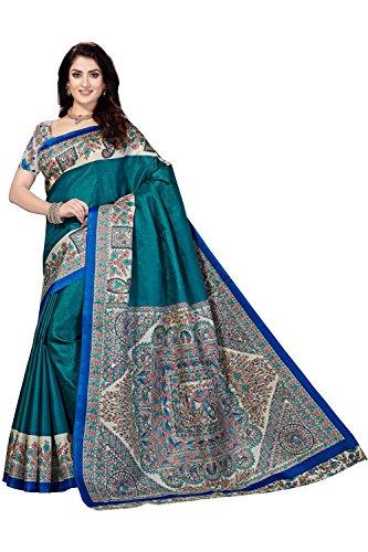 Rani Saahiba Art Silk Saree with Blouse Piece (SKR3268_Blue_One Size)