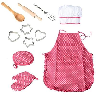 Bestonzon Lot de 11enfants Ensemble de chef enfant Cuisine Play Costume avec chapeau de chef Tablier Gant de cuisson et ustensiles
