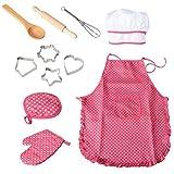 BESTONZON 11pcs Kinder Schürzen-Set Kinderschürze Kochmütze und Utensilien Mädchen Kinder Chef Kostüm Küchenspielzeug