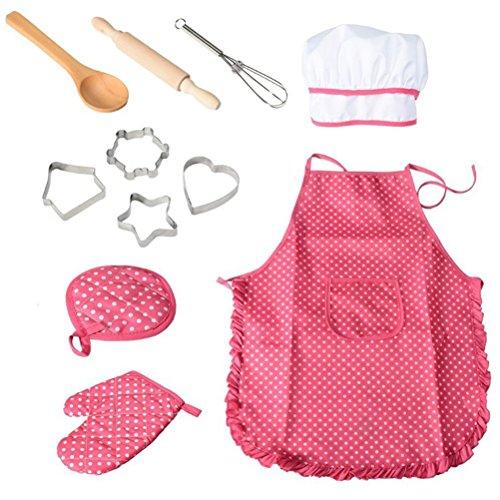 bestonzon 11Kids Chef-Set Kinder Kochen Play Kostüm mit Kochmütze Schürze Kochen Mitt und Utensilien (Kids Childs Play Kostüm)