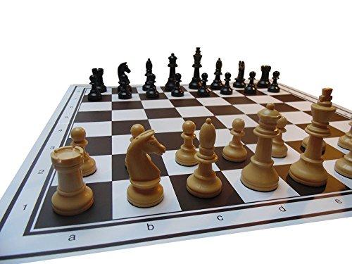 Preisvergleich Produktbild Turnier Schachfiguren mit Schachbrett Kunststoff, König-H90 mm, in Buchekassette