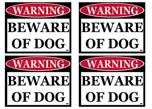 Rogue River Tactical Vorsicht vor Hund Klein 4Stück Warnung Tür Fenster Aufkleber Innen Outdoor Einfach abziehen und aufkleben Vinyl 10,2x 7,6cm Home Office Business -