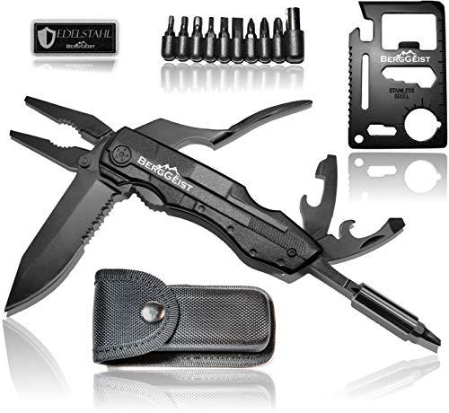 BERGGEIST® Multi-Tool Survival Taschenmesser Set aus Edelstahl | Klappmesser & Zange | Inklusive EDC Kreditkartenmesser [2019]