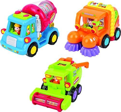 Spielzeug für Kleinkinder - Set mit 3 reibungsbetriebenen Spielzeugen TG641 - Reibungsbetriebener Zementmischer / Kehrmaschine / Mähdrescher mit automatischen Funktionen