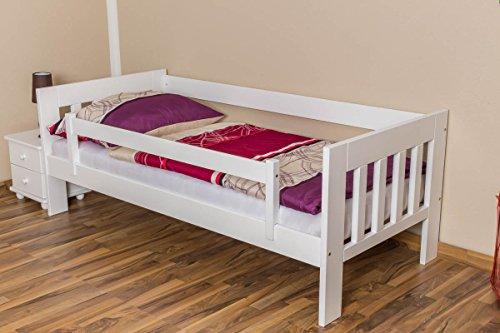 Kinderbett / Juniorbett Kiefer massiv Vollholz weiß lackiert 95, inkl. Lattenrost - 90 x 200 cm (B x L) - 3