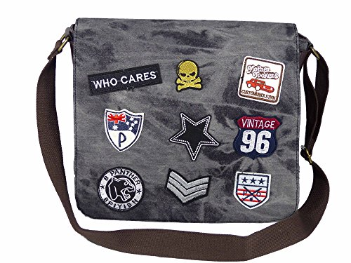 Coole Canvas Style Messager Bag mit aufgenähten Patches - Camouflage grau