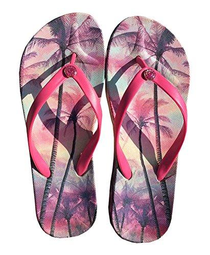 Été Cool Femmes Hawaiian Beach Sandals Flip Flops pourpre