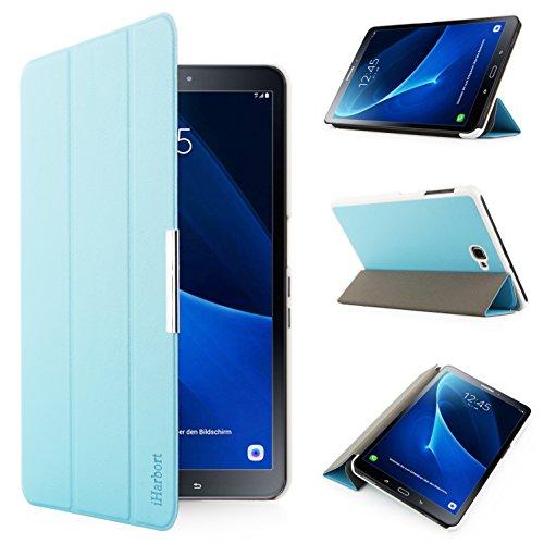 iHarbort® Premium Hülle für Samsung Galaxy Tab A 10.1 (SM-T580/T585) - Samsung Galaxy Tab A 10.1 hülle Etui Schutzhülle Case Cover Holder Stand mit Smart Auto Wake/Sleep-Funktion (Hellblau)