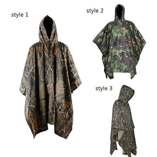 wellhome Wasserdicht Regen Jacke, multifunktional Outdoor Military Camouflage Regenmantel Poncho, für die Jagd Camping mit Notfall Tülle Ecken für Shelter und Militärische Nutzung, Regen Poncho wasserdicht (Regen Bekleidung)