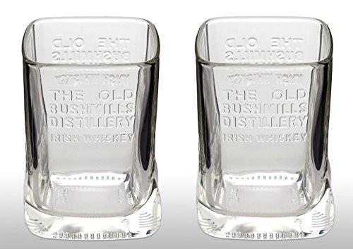2x OFFIZIELLER Bushmills Irish Whiskey-Gläser Rare Flasche geformt Whisky Glas
