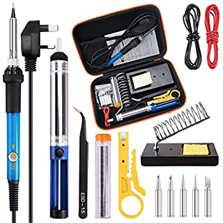 Soldering Iron Kit, TABIGER 15PCS 60W Temperature Control Solder Iron Gun, 5pcs Tips, Solder, Desoldering Pump, Tweezers, Wire Stripper Cutter, Stand with Cleaning Sponge and Carry Bag