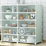 Küchenregale, DIY Bücherregal - Metallgitterwürfel, Schuhschränke, Regale, Steckregale, Multifunktionsregale 10 Bücherregal,Green
