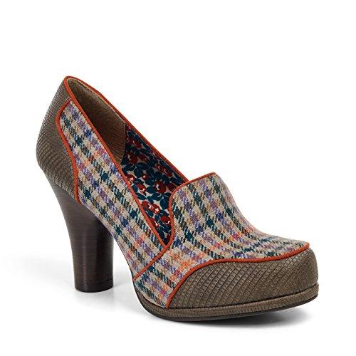 Ruby Shoo KAYLEE Houndstooth Vintage Wool Classic Retro PUMPS Rockabilly (37, Olivbraun mit Houndstooth)