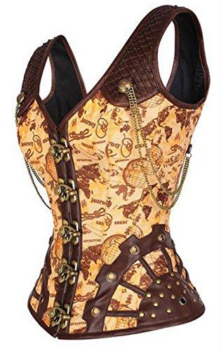 KuSen Damen Vintage Vollbrust Korsett 12 Stahlstäbchen Faux Leder Steampunk Corsage Vest Braun