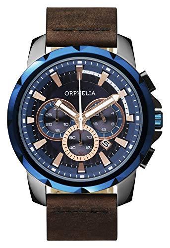 Orphelia Herren-Armbanduhr Five senses Chronograph Quarz Leder