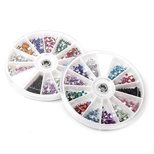 1600Pcs 12 Couleurs Paillettes Strass en Acrylique Forme de Carré et de Goutte d'Eau Accessoires pour Nail Art