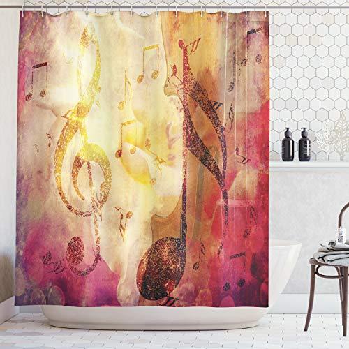 ABAKUHAUS Duschvorhang, Violinen Schlüssel Halbtote in Künstlerischen Abstrakt Design Musik Thematisiert Digital Druck, Blickdicht aus Stoff mit 12 Ringen Waschbar Langhaltig Hochwertig, 175 X 200 cm