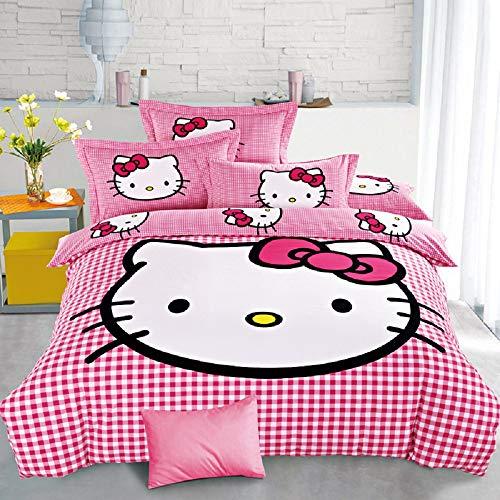 Xadrez Bettwäsche-Set für Kinderbett, 3-teilig, 1 Bettdeckenbezug, wendbar, 150 x 210 cm, 1 Spannbetttuch, 160 x 230 cm, 1 Kopfkissenbezug, weich, Katzenmotiv, wendbar, 90 oder 135 cm, 3 Stück