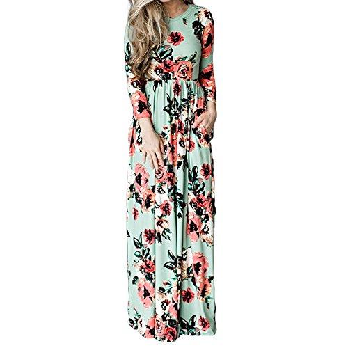 Lover-Beauty Kleider Damen Blumen Kleid Elegant Langarm Maxikleid Floral Print Böhmischen Strand Maxi Kleid Casual mit Taschen
