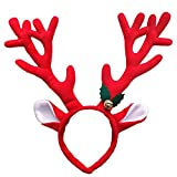 Fancyku Large Antlers Headband for Christmas Halloween Easter Festival Handmade Plush Party Costume (Red)