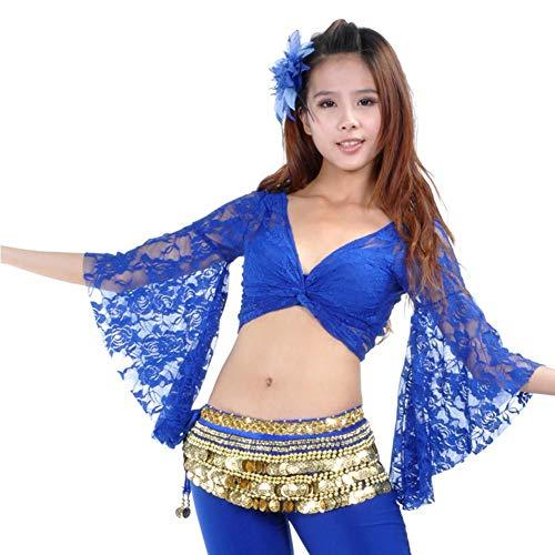 Belly Dance Tops Plus Size Langarm Kostüme Tops Frauen Mädchen üben Leistung Chiffon Tops (Size Plus Dance Kostüme)