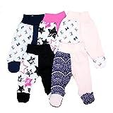 TupTam Unisex Baby Hose mit Fuß Bunte Strampelhose 5er Pack, Farbe: Mädchen 2, Größe: 62