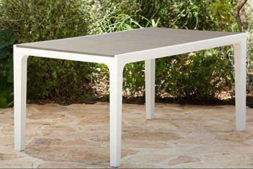 Set tavolo e 6 poltrone HARMONY in resina KETER con stampo finto legno