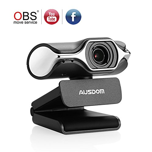 Ausdom Full HD Webcam 1080p, Cámara de streaming en vivo, USB Webcam para llamadas de vídeo y grabación, Soporte de Facebook YouTube streaming, Compatible para Mac OS Windows 10/8/7