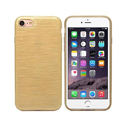 iProtect iPhone 7 e iPhone 8 Clear Crystal Soft Case custodia in TPU 0,3mm trasparente Sabbiato oro