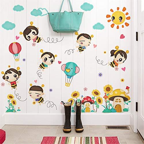 (Hongrun Cartoon kinderzimmer Baby Schlafzimmer Dekorationen Biene wandaufkleber niedlichen Kindergarten klassenzimmer Selbstklebende Aufkleber 88 * 115 cm)