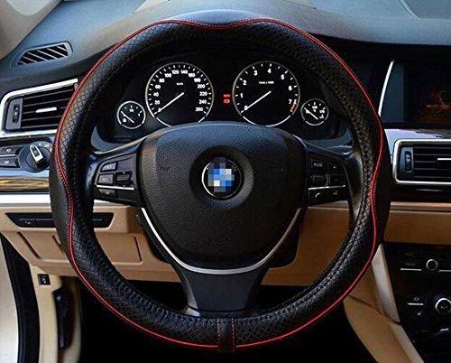 ETbotu Top Leder-Lenkrad Wrap Cover Sleeve Atmungsaktiv Automotive Innen Zubehör (Schwarz + Rot)