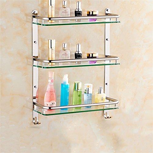 Badezimmer Regal Edelstahl-Badezimmer Regal Glas Badezimmerwandbefestigungen Sicherheit abgerundete Ecken (Color : 51 * 66CM) - Sicherheits-glas-regale