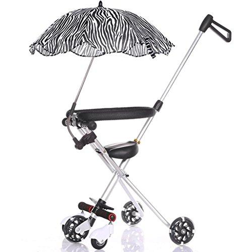 Poussette bébé Trolley pliant pour enfants à cinq roues en aluminium simple facile (+ parapluie) GAOLILI (Couleur : Silver)