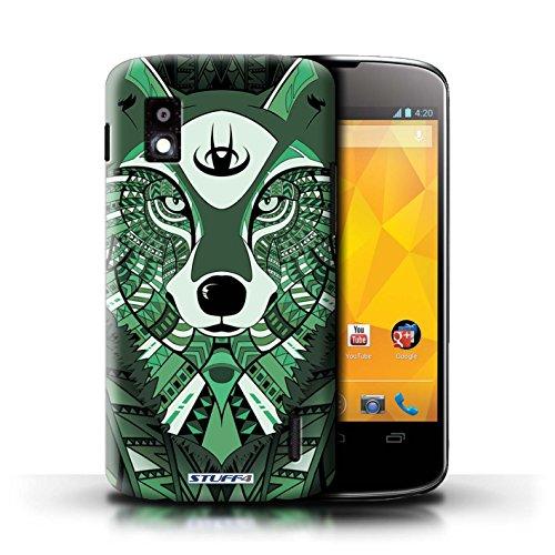 Kobalt® Imprimé Etui / Coque pour LG Nexus 4/E960 / Loup-Cramoisi conception / Série Motif Animaux Aztec Loup-Vert