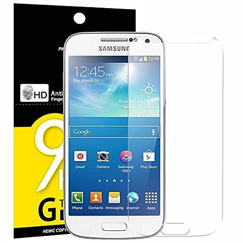 Samsung Galaxy S4 MINI Panzerglas, NEWC® Premium Displayschutz panzerfolie aus gehärtetem Schutzglas (0,33mm HD Ultra transparent) - ANTI SCRATCH - OHNE LUFTBLASEN - ULTRA RESISTANT - 9H Härte und leichte Bubble-Installation schutzfolie für Samsung Galaxy S4 MINI