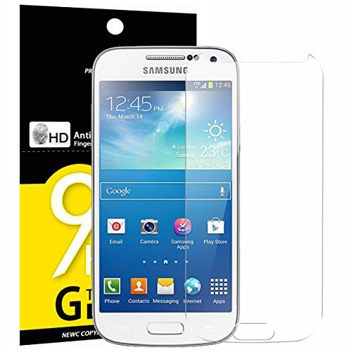 NEW'C PanzerglasFolie Schutzfolie für Samsung Galaxy S4 Mini, Frei von Kratzern Fingabdrücken und Öl, 9H Härte, HD Displayschutzfolie, 0.33mm Ultra-klar, DisplayschutzfolieSamsung S4 Mini