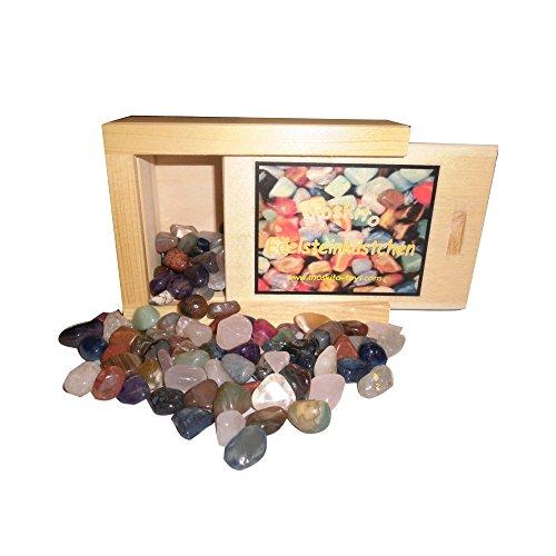 Edelsteine Halbedelsteine 230g in einer Holzschiebebox
