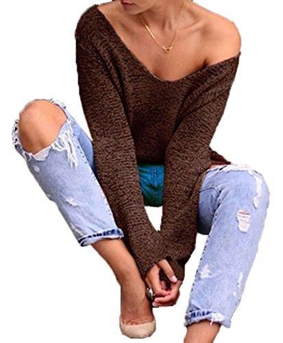 Donne V Collo Maglione a Maniche Lunghe Casual Maglione Oversize Camicetta Top Sexy Pullover Jumper Sweater Cachi
