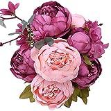 StarLifey Artificial peonía 1 ramo 8 cabezas Flores de seda para decoración del hogar o bodas (New Cameo Brown)