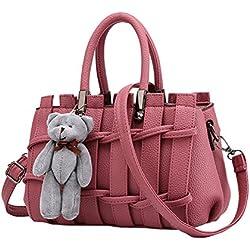 Moda Bolso Mujer Crossbody Bolso Tipo de rejilla de cuero de la PU de la manera Adornos de muñeca de oso bolso nuevo estilo de la Rosa 2