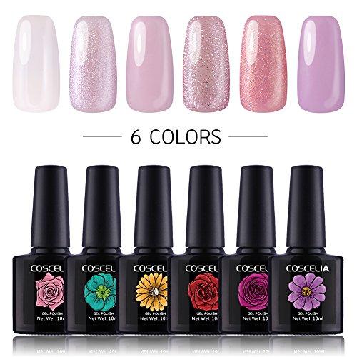 Coscelia 6pc Gellack Set 10ml UV Nagellack Nagelgel Polish Set UV Gel Farbgel Nageldesign Farbenset