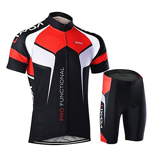 Lixada Herren Radtrikot Set Fahrrad Kurzarm Set Schnelltrocknend Atmungsaktives Shirt + 3D Cushion Shorts Gepolsterte Hose -