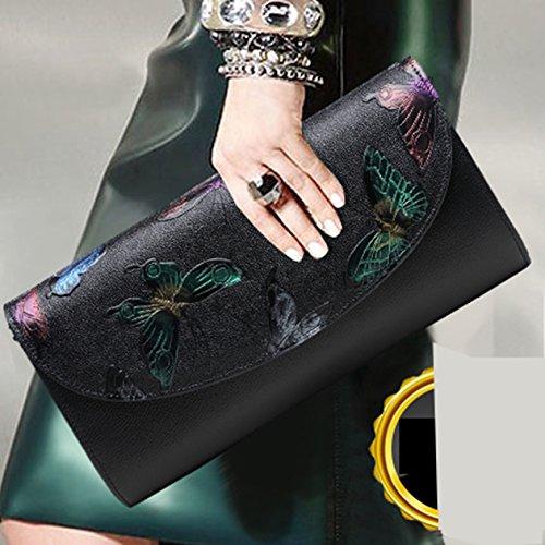 Butterfly und großer Art Weisetendenzleder Damenhandtasche Kapazitätsfaltblatt Farbe Handbeutel Blau Bankettabendessenpaket Handbeutel qwfx7OvR