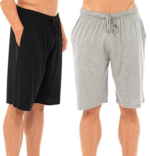 Mens Twin Pack Lounge Shorts Stretch Jersey Sleep Night Wear Pyjamas PJ Bottoms (MEDIUM, black & grey)