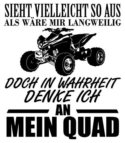 Samunshi® Ich denke an Mein Quad Schriftzug Aufkleber Sticker Autoaufkleber Scheibenaufkleber Motorradaufkleber in 4 Größen (26x30cm)