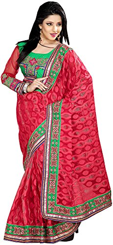 Shraddha Sarees Women's Brasso Saree With Unstitched Blouse Piece (Ssarees-G-09)