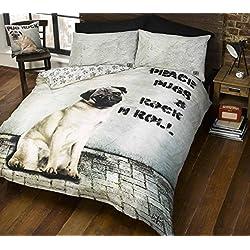 Ropa de cama Reversible Heaven, con diseño de. FUNDA DE EDREDÓN DE PERRO CARLINO PUGSY, FUNDA DE EDREDÓN PARA CAMA DOBLE. De perro, diseño de huellas de en marcha atrás. Símbolo de la paz, un dogo n de Rock and roll.